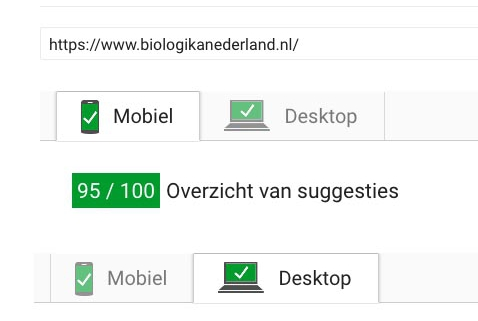 wordpress pagespeed meting Biologika Nederland bij ho